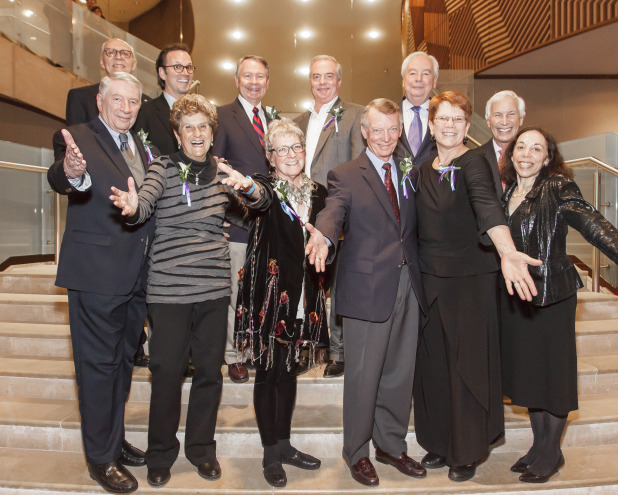NAMT's founders and past presidents were honored at Show Off!, a benefit concert celebrating 25 years of the Festival of New Musicals in 2013.  Back row, L-R: Leland Ball, Rick Boynton, John Holly, John Breckenridge, Michael Jenkins, Michael Price  Front row, L-R: Marty Wiviott, Judith Allen, Marilynn Sheldon, Bud Franks, Sue Frost, Marsha Brooks