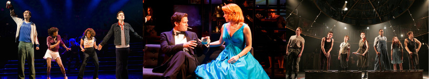 Kyle Beltran, Carla Duren, Rebecca Naomi Jones, and Adam Chanler-Berat in THE FORTRESS OF SOLITUDE at The Public Theater. Photo by Doug Hamilton. / Stephen Pasquale and Kelli O'Hara in FAR FROM HEAVEN at Playwrights Horizons. Photo by Joan Marcus / THE CIRCUS IN WINTER at Goodspeed Musicals (Photo by Diane Soblewski.