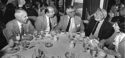 Harold Prince (2nd from right) with NAMT members at the 1987 NAMT Conference. (Photo by Daniel Root, Steve Friedman and Associates)